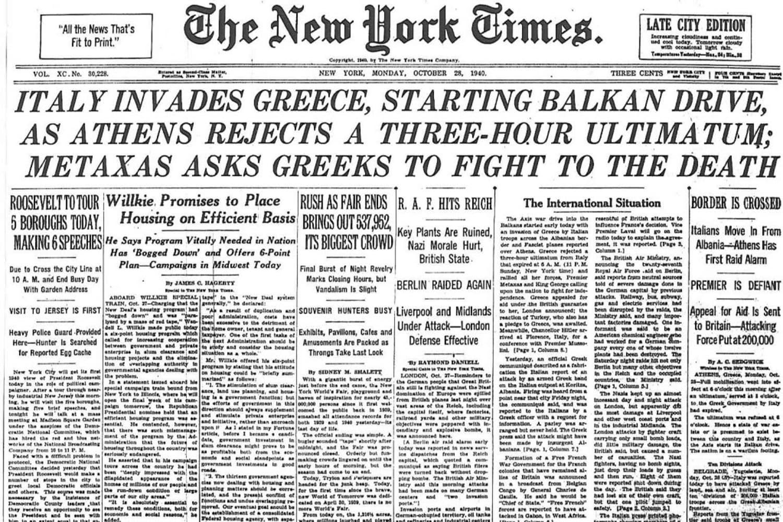 28 ottobre 1940 - italia attacca grecia